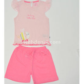Aziz Bebe 2513 2li Bebek Takımı Pembe-narçiçeği 0-3 Ay (56-62 Cm) Kız Bebek Takım