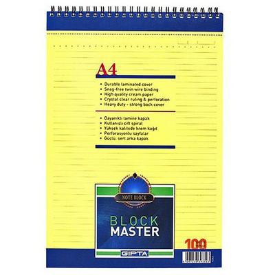 Gipta Color Master A4 Bloknot 100 Yaprak Çizgili Spiralli Bloknotlar