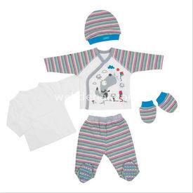 Bebepan 1511 Joyful 5li Set Mavi 0-3 Ay (56-62 Cm) Erkek Bebek Hastane Çıkışı