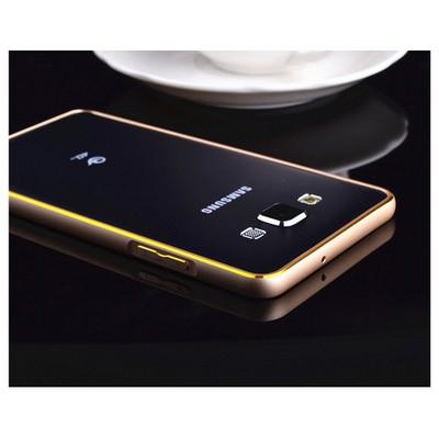 Microsonic Samsung Galaxy A7 Thin Metal Çerçeve Kılıf Altın Sarı Cep Telefonu Kılıfı