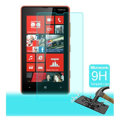 Microsonic Temperli Cam Ekran Koruyucu Nokia Lumia 820 Film Ekran Koruyucu Film