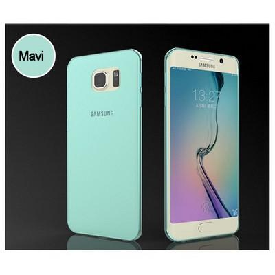 Microsonic Transparent Soft Samsung Galaxy S6 Edge Kılıf Mavi Cep Telefonu Kılıfı