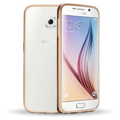 Microsonic Samsung Galaxy S6 Thin Metal Çerçeve Kılıf Altın Sarısı Cep Telefonu Kılıfı