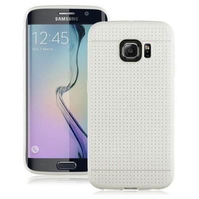 Microsonic Dot Style Silikon Samsung Galaxy S6 Edge Kılıf Beyaz Cep Telefonu Kılıfı
