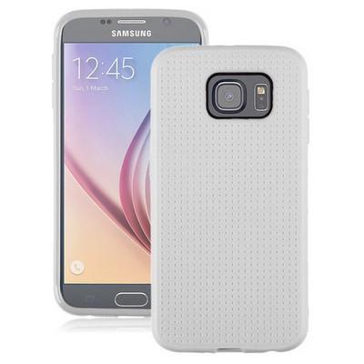 Microsonic Dot Style Silikon Samsung Galaxy S6 Kılıf Beyaz Cep Telefonu Kılıfı