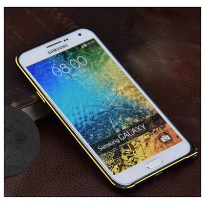 Microsonic Samsung Galaxy E5 Thin Metal Çerçeve Kılıf Siyah Cep Telefonu Kılıfı