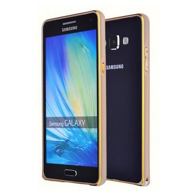 Microsonic Samsung Galaxy E7 Thin Metal Çerçeve Kılıf Altın Sarısı Cep Telefonu Kılıfı