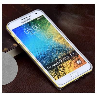 Microsonic Samsung Galaxy E7 Thin Metal Çerçeve Kılıf Gümüş Cep Telefonu Kılıfı