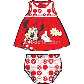 Minnie Mouse Mn4391 Kız Külotlu Elbise Kırmızı 3-6 Ay (62-68 Cm) Kız Bebek Takım