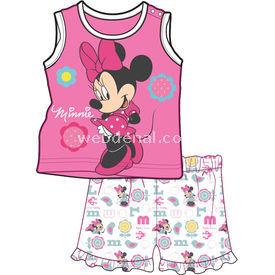 Minnie Mouse Mn4400 Kız Bebek Şort Takımı Pembe 3-6 Ay (62-68 Cm) Kız Bebek Takım