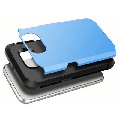 Microsonic Slim Fit Dual Layer Armor Samsung Galaxy S6 Kılıf Mavi Cep Telefonu Kılıfı