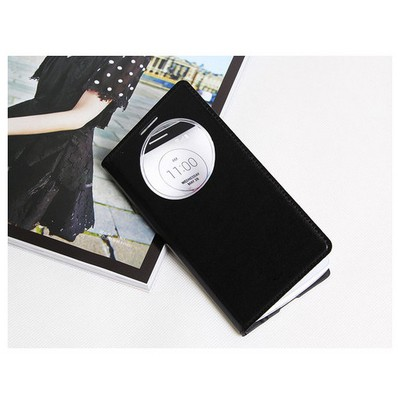 Microsonic View Slim Kapaklı Deri Lg G3 Stylus Kılıf Akıllı Modlu Siyah Cep Telefonu Kılıfı