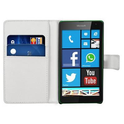 Microsonic Cüzdanlı Deri Microsoft Lumia 535 Kılıf Beyaz Cep Telefonu Kılıfı