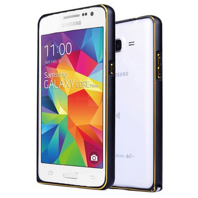 Microsonic Samsung Galaxy Core Prime Thin Metal Çerçeve Kılıf Siyah Cep Telefonu Kılıfı