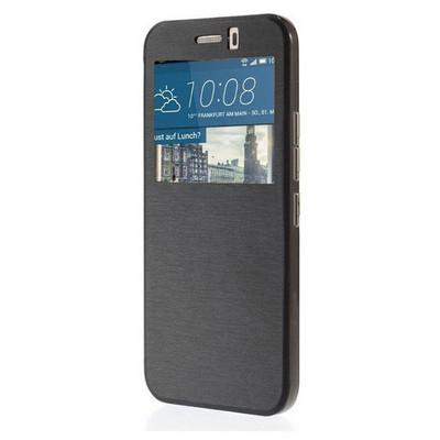 Microsonic View Cover Delux Kapaklı Htc One M9 Kılıf Siyah Cep Telefonu Kılıfı