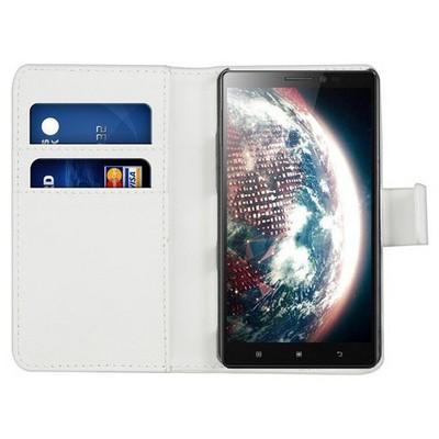 Microsonic Cüzdanlı Deri Lenovo Vibe Z2 Pro Kılıf Beyaz Cep Telefonu Kılıfı