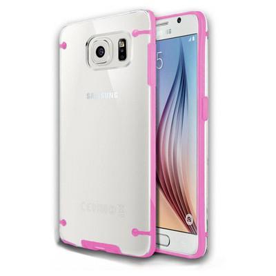 Microsonic Hybrid Transparant Samsung Galaxy S6 Kılıf Pembe Cep Telefonu Kılıfı