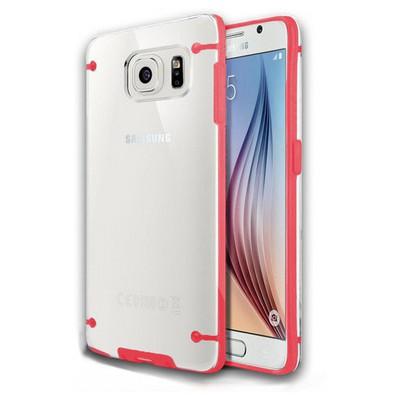 Microsonic Hybrid Transparant Samsung Galaxy S6 Kılıf Kırmızı Cep Telefonu Kılıfı
