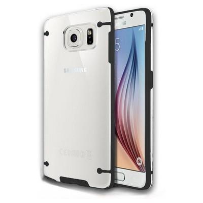 Microsonic Hybrid Transparant Samsung Galaxy S6 Kılıf Siyah Cep Telefonu Kılıfı