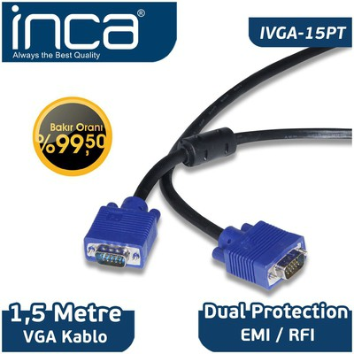 Inca IVGA-15PT 1,5 Metre Vga to Vga 0 Ses ve Görüntü Kabloları