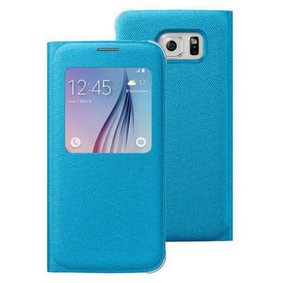 Microsonic View Premium Fabric Samsung Galaxy S6 Kapaklı Kılıf (akıllı Modlu) Mavi Cep Telefonu Kılıfı