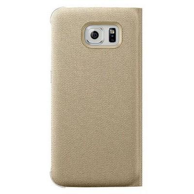 Microsonic View Premium Fabric Samsung Galaxy S6 Kapaklı Kılıf (akıllı Modlu) Gold Cep Telefonu Kılıfı
