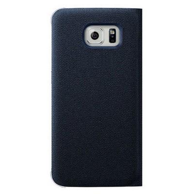 Microsonic View Premium Fabric Samsung Galaxy S6 Kapaklı Kılıf (akıllı Modlu) Siyah Cep Telefonu Kılıfı