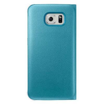 Microsonic View Premium Leather Samsung Galaxy S6 Deri Kapaklı Kılıf (akıllı Modlu) Mavi Cep Telefonu Kılıfı