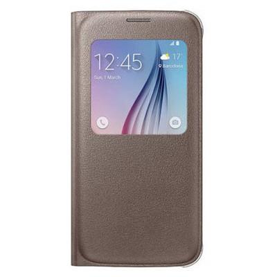 Microsonic View Premium Leather Samsung Galaxy S6 Deri Kapaklı Kılıf (akıllı Modlu) Gold Cep Telefonu Kılıfı