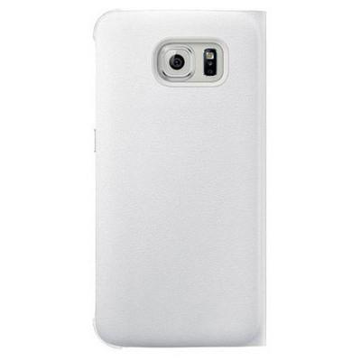 Microsonic View Premium Leather Samsung Galaxy S6 Deri Kapaklı Kılıf (akıllı Modlu) Beyaz Cep Telefonu Kılıfı