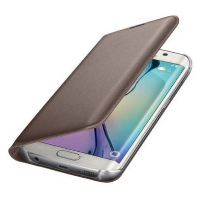 Microsonic Flip Leather Samsung Galaxy S6 Edge Kapaklı Deri Kılıf Gold Cep Telefonu Kılıfı