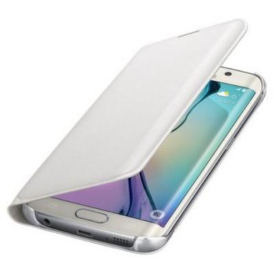 Microsonic Flip Leather Samsung Galaxy S6 Edge Kapaklı Deri Kılıf Beyaz Cep Telefonu Kılıfı