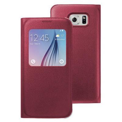 Microsonic View Premium Leather Samsung Galaxy S6 Deri Kapaklı Kılıf (akıllı Modlu) Bordo Cep Telefonu Kılıfı
