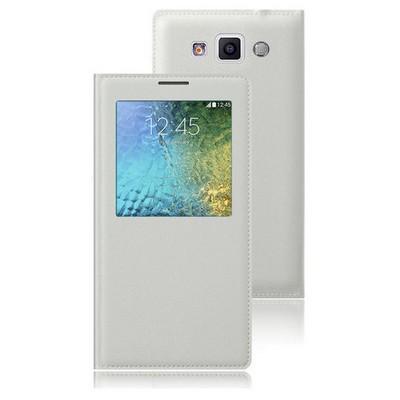 Microsonic View Slim Kapaklı Deri Samsung Galaxy E5 Kılıf Beyaz Cep Telefonu Kılıfı