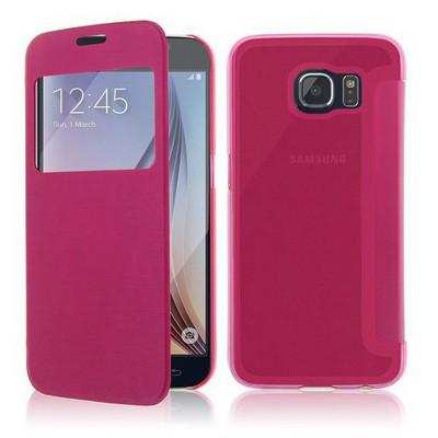 Microsonic View Cover Delux Kapaklı Samsung Galaxy S6 Kılıf Pembe Cep Telefonu Kılıfı