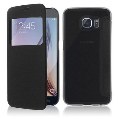 Microsonic View Cover Delux Kapaklı Samsung Galaxy S6 Kılıf Siyah Cep Telefonu Kılıfı