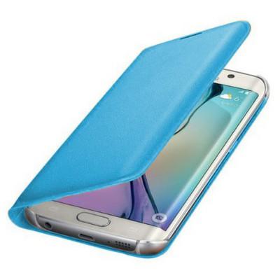 Microsonic Flip Leather Samsung Galaxy S6 Edge Kapaklı Deri Kılıf Mavi Cep Telefonu Kılıfı