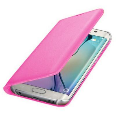 Microsonic Flip Leather Samsung Galaxy S6 Edge Kapaklı Deri Kılıf Pembe Cep Telefonu Kılıfı