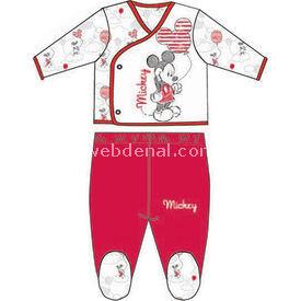 Mickey Mouse Mc4328 Erkek Zıbın Takım Kırmızı 0-3 Ay (56-62 Cm) Erkek Bebek Body