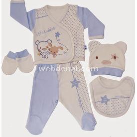 Baby Center 58113 Little Buddies Hastane Çıkış Seti 5li Ekru-mavi Kız Bebek Hastane Çıkışı