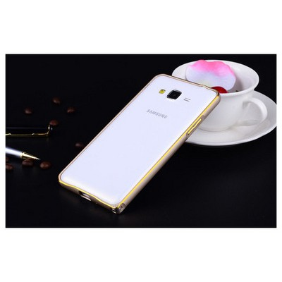 Microsonic Samsung Galaxy J1 Thin Metal Çerçeve Kılıf Gold Cep Telefonu Kılıfı