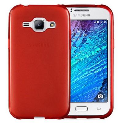 Microsonic Transparent Soft Samsung Galaxy J1 Kılıf Kırmızı Cep Telefonu Kılıfı