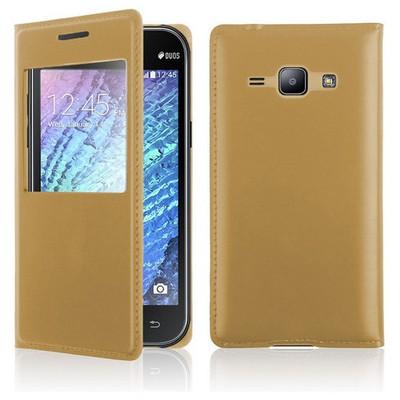 Microsonic View Slim Kapaklı Deri Samsung Galaxy J1 Kılıf Gold Cep Telefonu Kılıfı