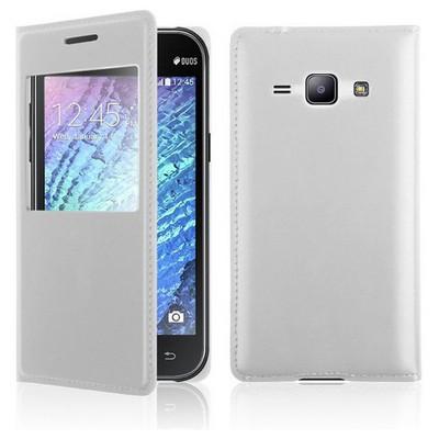 Microsonic View Slim Kapaklı Deri Samsung Galaxy J1 Kılıf Beyaz Cep Telefonu Kılıfı