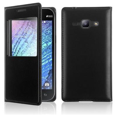 Microsonic View Slim Kapaklı Deri Samsung Galaxy J1 Kılıf Siyah Cep Telefonu Kılıfı