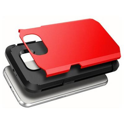 Microsonic Slim Fit Dual Layer Armor Samsung Galaxy S6 Edge Kılıf Kırmızı Cep Telefonu Kılıfı