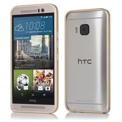 Microsonic Htc One M9 Thin Metal Çerçeve Kılıf Gold Cep Telefonu Kılıfı
