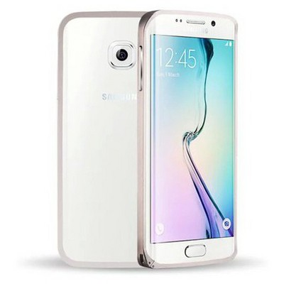 Microsonic Samsung Galaxy S6 Edge Thin Metal Çerçeve Kılıf Gümüş Cep Telefonu Kılıfı