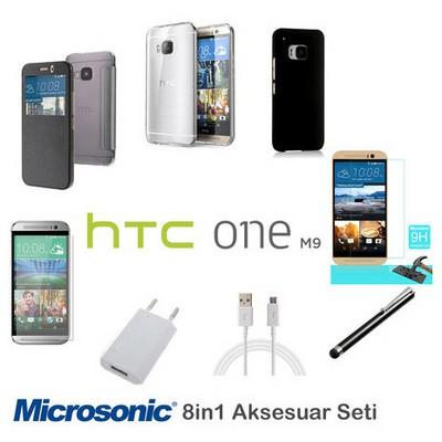 Microsonic Htc One M9 Kılıf & Aksesuar Seti 8in1 Cep Telefonu Kılıfı