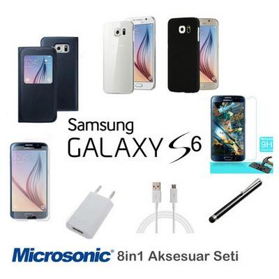 Microsonic Samsung Galaxy S6 Kılıf & Aksesuar Seti 8in1 Cep Telefonu Kılıfı